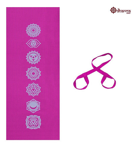 Tapete Yoga Rosa Estampa 7 Chakras 4mm + Alça De Brinde