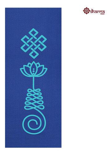 Tapete Yoga Premium Azul Estampa Unalome 2,00m - 5mm