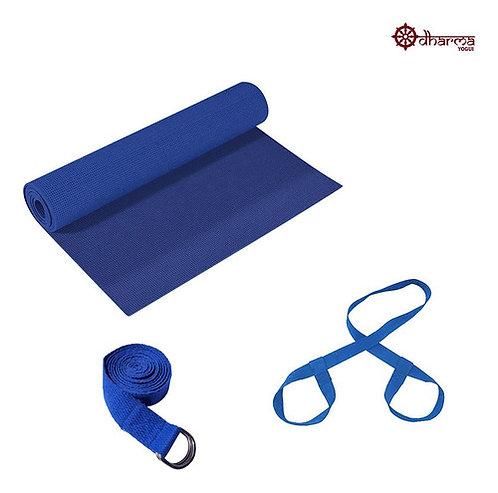 Kit Yoga - Tapetinho Azul + Alça + Cinto De Alongamento