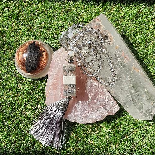 Japamala de Cristal com Orgonite - Prata transparente