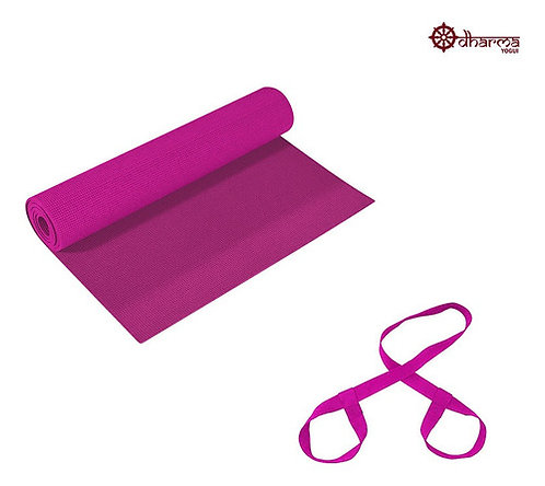 Tapete Yoga Rosa 1,73m - 4mm + Alça De Brinde