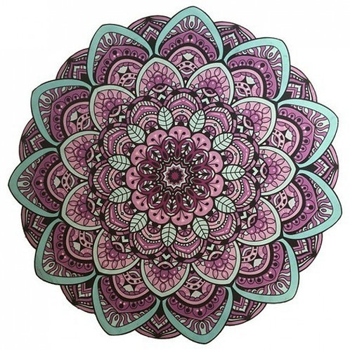 Tapete Mandala Lótus Lilás e Turquesa