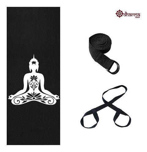 Kit Yoga Black Premium Buda + Alça + Cinto De Alongamento