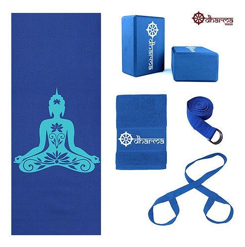 Kit Yoga Azul Premium Buda+alça+cinto+2 Blocos+toalhinha