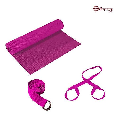 Kit Yoga - Tapetinho Rosa + Alça + Cinto De Alongamento