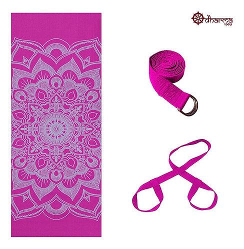 Kit Yoga Rosa Estampa Mandala 4mm+alça+cinto De Alongamento
