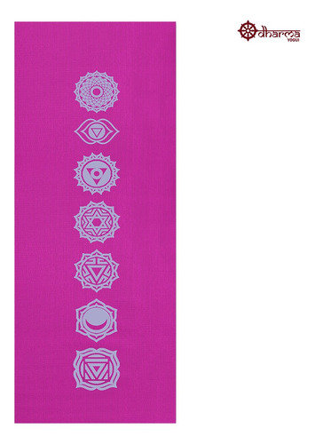 Tapete Yoga Rosa Estampa 7 Chakras 1,73m - 4mm