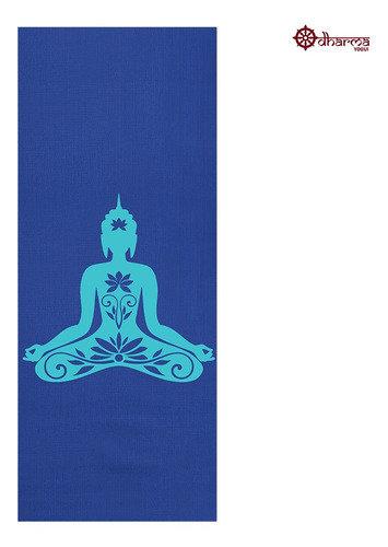 Tapete Yoga Premium Azul Estampa Buda 2,00m - 5mm