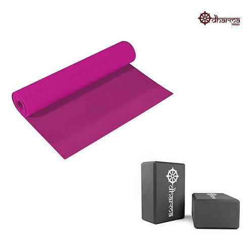 Tapete Yoga Rosa 173m - 4mm + 2 Blocos De Yoga Preto