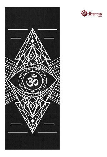 Tapete Yoga Premium Black Estampa Om Alinhamento 2m - 5mm