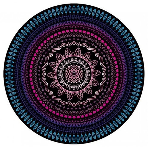Manta Mandala Aveludada Rosa Roxo Turquesa - Multifunciona