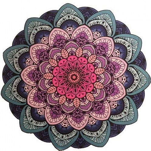 Tapete Mandala Lótus Azul, Lilás e Rosa