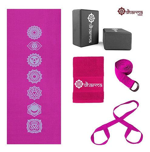 Kit Yoga Completo Rosa 7chakras+alça+cinto+2blocos+toalhinha