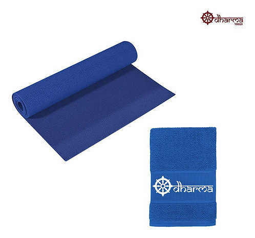 Tapete Pilates Azul Céu Com Toalhinha Azul De Acompanhamento