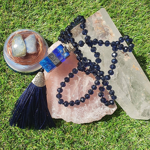 Japamala de Cristal com Orgonite - Azul Escuro