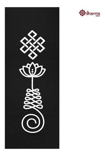 Tapete Yoga Premium Black Estampa Unalome 2,00m - 5mm