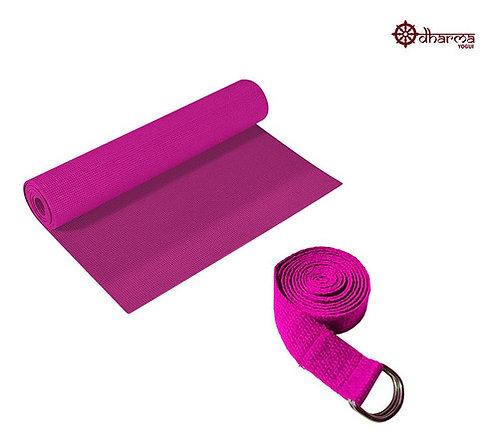 Tapete Pilates Pink Com Cinto De Alongamento Rosa De Brinde