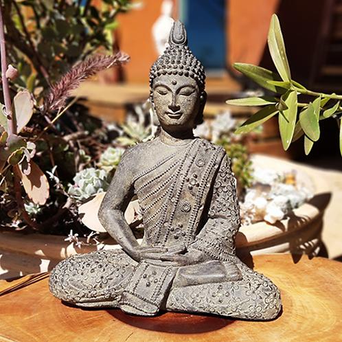 Buda Dhyana Pedra Manto Floral