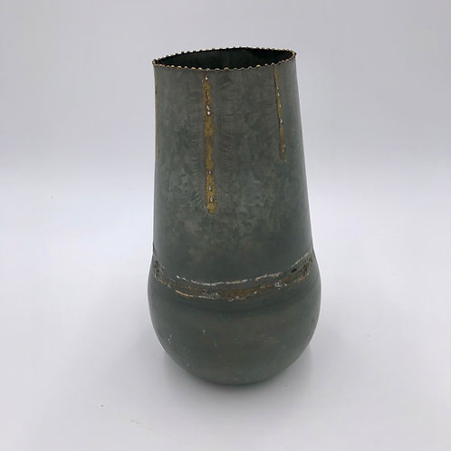 Galvanized Metal Vase Large