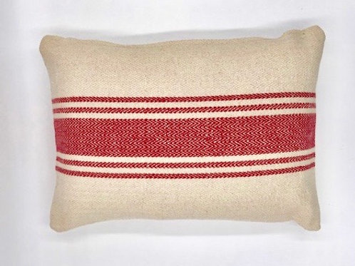 Chevron Ticking Stripe Pillow Red