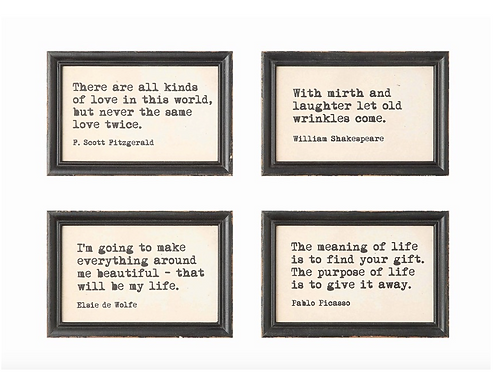 Wood Framed Wall Decor W/Fun Quotes