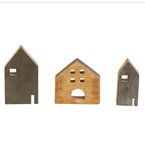 Mango Wood Village Set Of 3