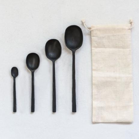 """8""""L Cast Aluminum Spoons, Set of 4"""