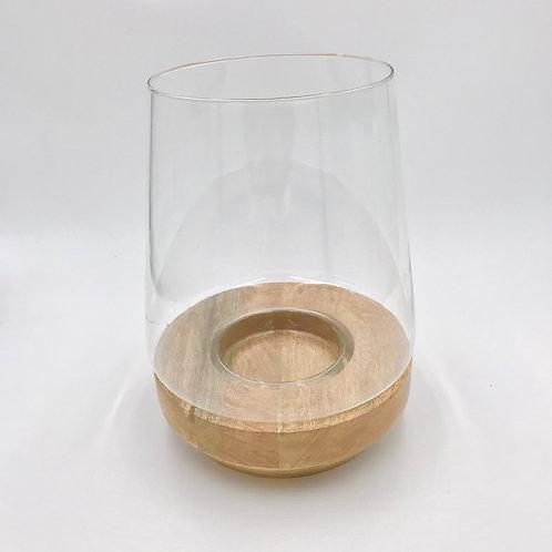 Wood Base with Glass Terrarium