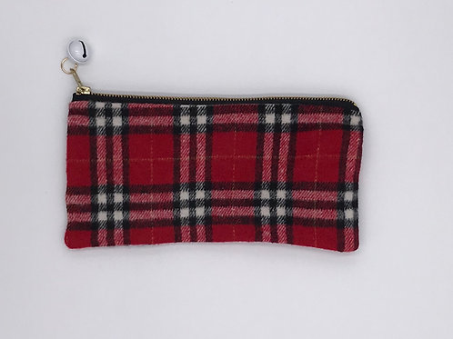 Fabric Zip Pouch w/ Jingle Bell Pull