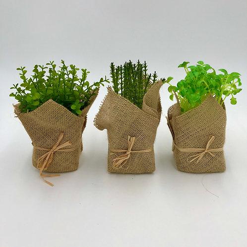Faux Herbs in Burlap Bag Set of 3