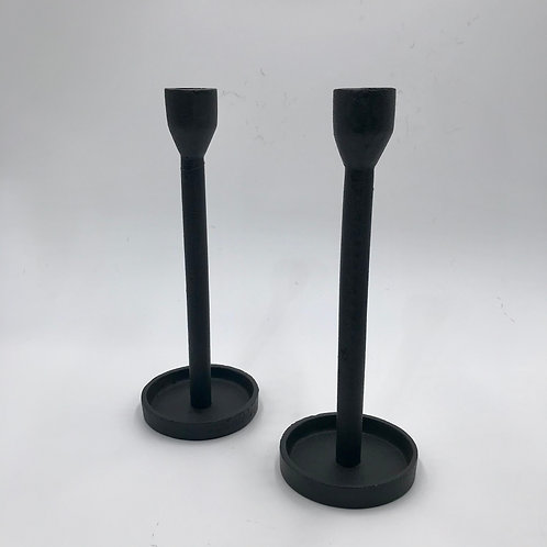 Cast Iron Molded Taper Candle Holder.   Set of 2