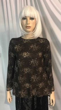 Modest Top Black & Floral Lace Plus Size
