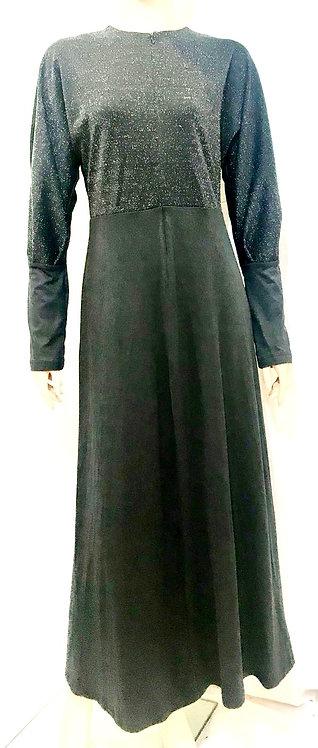Modest Robe Front Zipper Black Sparkle With Black