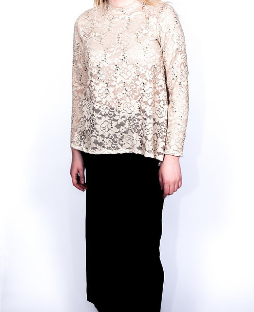 Modest Top Ivory Lace Plus Size