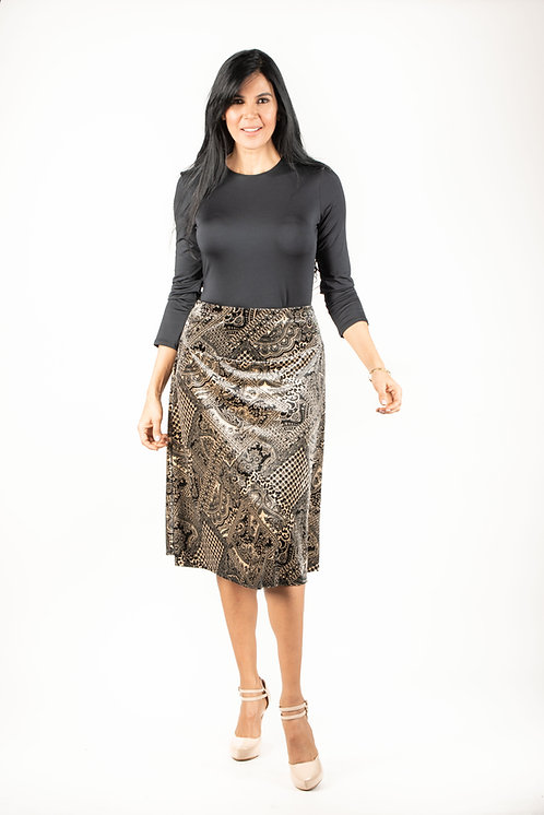 Modest Skirt Velvet Mixed Print