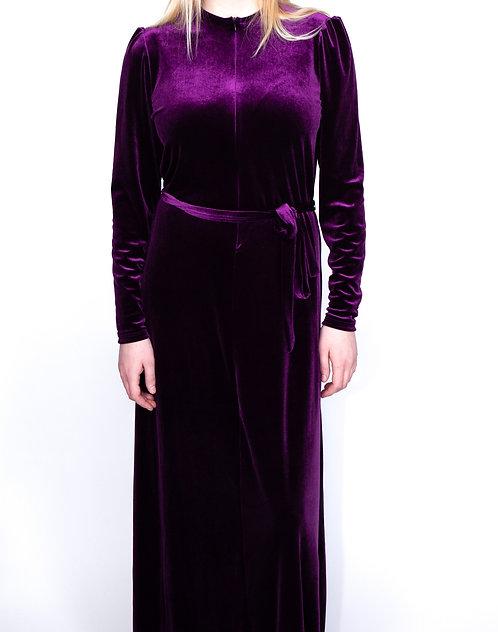 Modest Robe Front Zipper Purple Velvet Plus Size