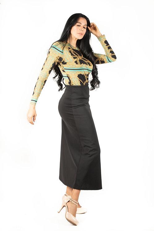 Modest Skirt Maxi Basic Black Plus Size