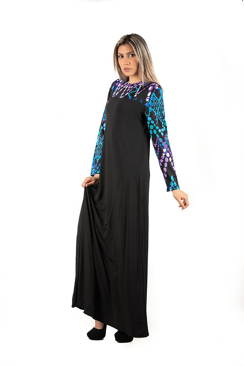 Modest Robe Black With Blue Bead Plus Size