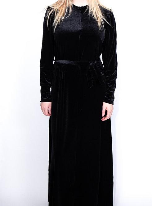 Modest Robe Front Zipper Black Velvet Plus Size