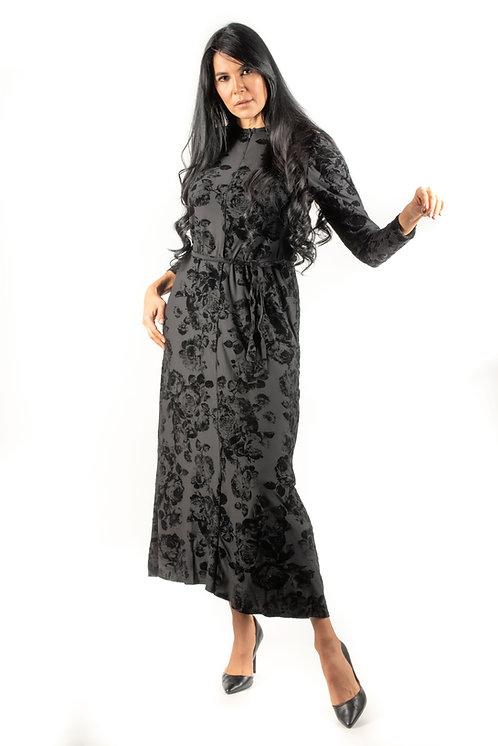 Modest Robe Front Zipper Black Velvet Floral