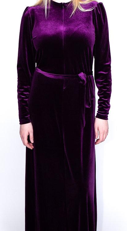 Modest Robe Front Zipper Purple Velvet