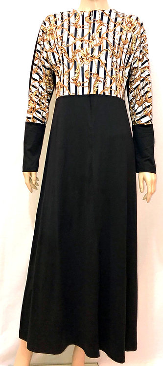 Modest Robe Front Zipper Black With Gold Scroll