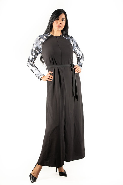 Modest Robe Front Zipper Black & Gray