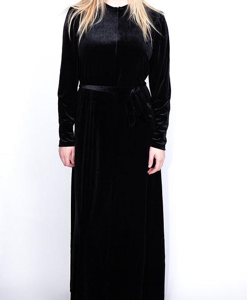Modest Robe Front Zipper Black Velvet