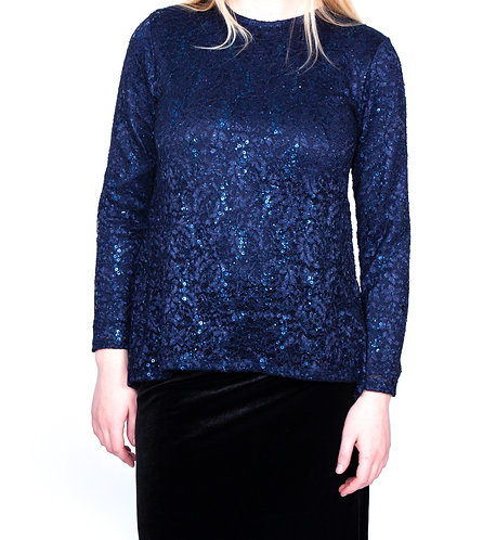 Modest Top Navy Lace Plus Size