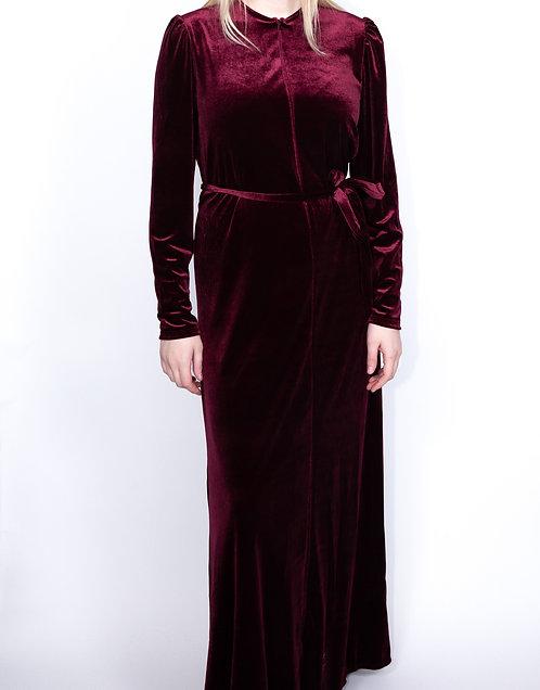 Modest Robe Front Zipper Burgundy Velvet Plus Size