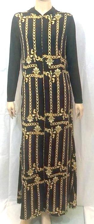 Modest Robe Front Zipper Hoodie Gold Chain