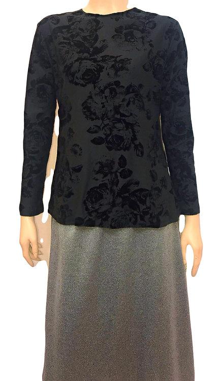 Modest Top Black Velvet Floral Plus Size