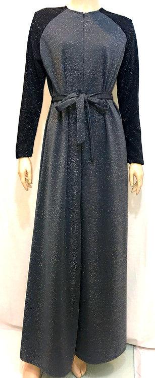 Modest Robe Front Zipper Gray & Black Sparkle