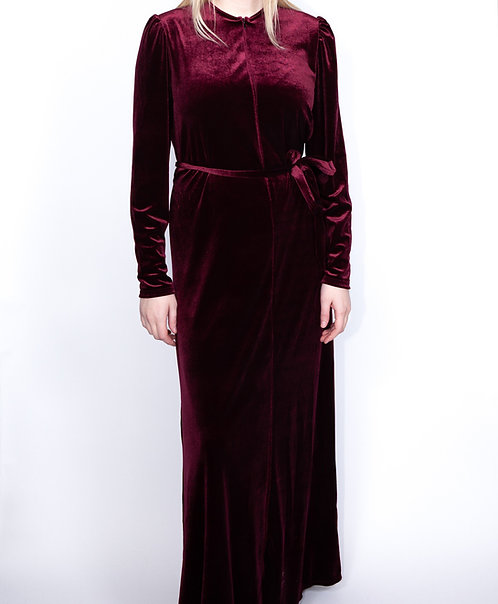 Modest Robe Front Zipper Burgundy Velvet